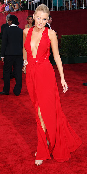 Blake Lively's Versache low cut red dress.