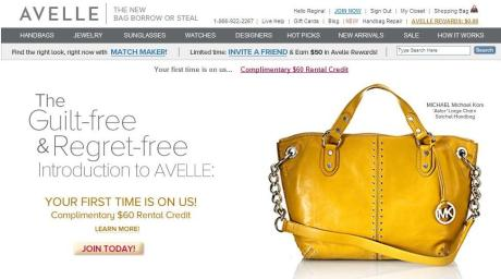 Screen shot of Avelle.com's homepage