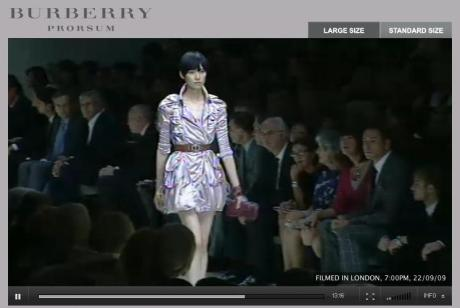 Screen shot from the live Burberry Prorsum show